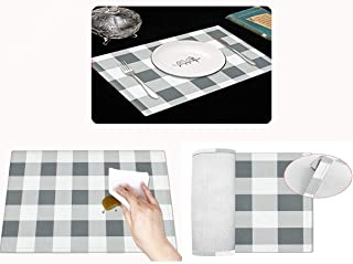 Britimes Christmas Placemats, Buffalo Check Placemats Set of 4 Non Slip Heat-Resistant Waterproof Linen Table Place Mats f...