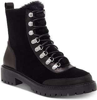 Womens Ilianna Leather Wool Combat Boots Black 6.5 Medium (B,M)