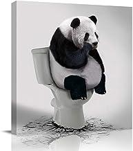 LooPoP Bathroom Decor Canvas Wall Art Framed Wall Decoration Funny Animal Gallery Wall Decor Print Panda Thinker on Toilet...