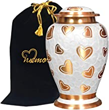 Pearl with Golden Hearts Cremation Urn for Human Ashes - Pearl & Gold Heart Urn - Adult Funeral Urn Handcrafted - Affordable Urn for Ashes - Large Urn with Free Bag