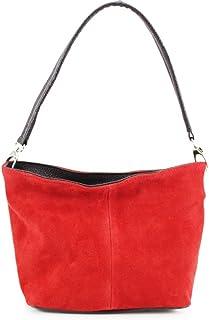 Leather Long Handle Shoulder Bag, LeahWard Women's Genuine Suede Leather Shoulder Handbags,