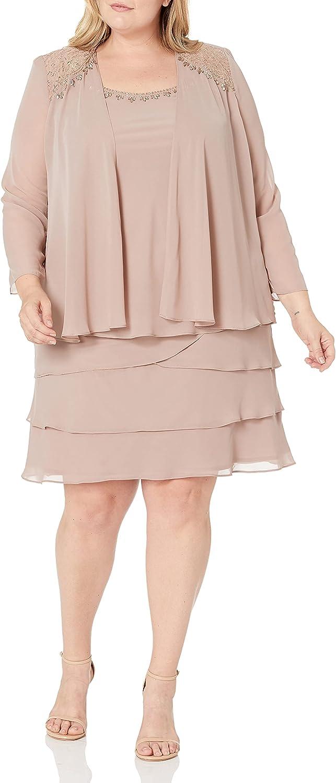 S.L. Fashions Women's Plus Size Embellished Tiered Jacket Dress