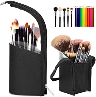 Hapythda Travel Makeup Brush Holder Organizer Case, Portable Cosmetics Makeup Brush Bags Stand-Up Waterproof Dust-proof Brush Holder Pouch Bag for Women (Black)