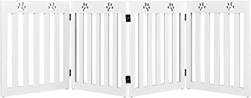 wholesale Giantex Wooden Freestanding Pet Gate, 4 Panel-24 inch Height Step Over Fence, Foldable Dog Gate with 360° Flexible Hinges, Indoor Safety Pet Gate for new arrival Home, outlet online sale Stairs, Doorway, White sale