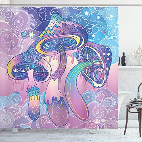 """Ambesonne Mushroom Shower Curtain, Trippy Drawing Hippie Design Sixties Visionary Psychedelic Shamanic, Cloth Fabric Bathroom Decor Set with Hooks, 70"""" Long, Pink Purple"""