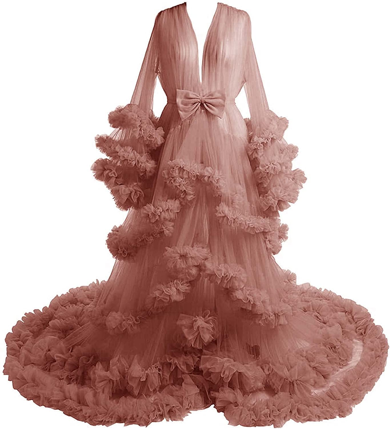 Tianzhihe Puffy Maternity Tulle Robe for Photoshoot Pregnant Dressing Gown Sheer Lingerie Nightgown