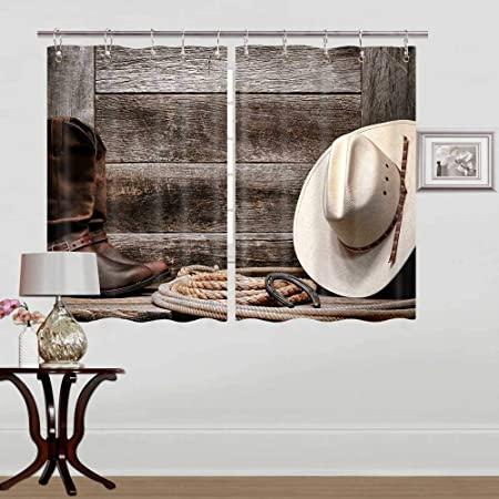 Western Kitchen Curtains Window Drapes Treatment 2 Panels Set For Kitchen Cafe Office American West Rodeo Traditional Straw Cowboy Hat Authentic Leather Boots Window Curtain Panels 55w X 39l Inch Kitchen