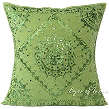 16 Green Mirror Embroidered Pillow Colorful Decorative Cushion Cover Throw Sofa Couch Bohemian Indian Boho Seating COVER ONLY Eyes of India