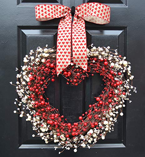 Elegant Holidays Handmade Red & White Berry Heart Shaped Wreath, Decorative Front Door to Welcome Guests- for Outdoor Indoor Home Wall Accent Décor- Great for Valentine's Day, All Seasons, Year Round
