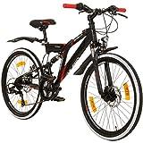 Galano 24 Zoll MTB Fully Adrenalin DS Mountainbike STVZO Jugendfahrrad, Farbe:Schwarz/Rot