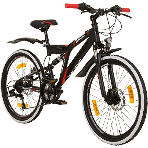 Galano 24 Zoll MTB Fully Adrenalin DS Mountainbike STVZO Jugendfahrrad, Farbe:Schwarz/Rot