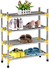 Household 4 Tier Shoe Rack Stainless Steel Storage Cabinet Hallway Standing Shelf Kitchen Multi-Purpose Space Saving Shelf...