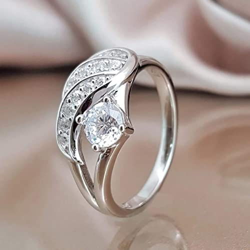 OPTIMISTIC Ring for Him and Her Angel Wing Ring Vintage Silver Women Men Feather Wing Ring Antique Alloy Ring Fashion Jewelry for Women Men, Size 6-10