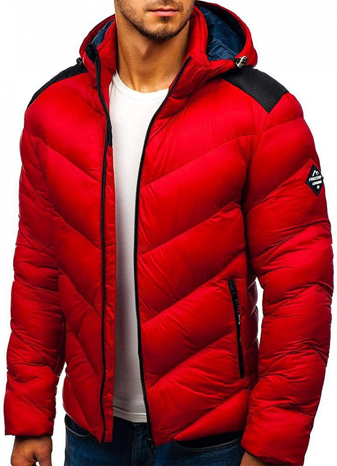 LEIYAN Mens Packable Down Hooded Jackets Zip Up Long Sleeve Lightweight Thermal Coat Winter Active Outerwear