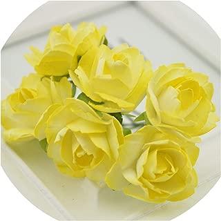 6Pcs Paper Rose Artificial Flowers Scrapbooking for Wedding Car Decoration Handicraft DIY Gift Box Wreath Material Fake,4 Yellow