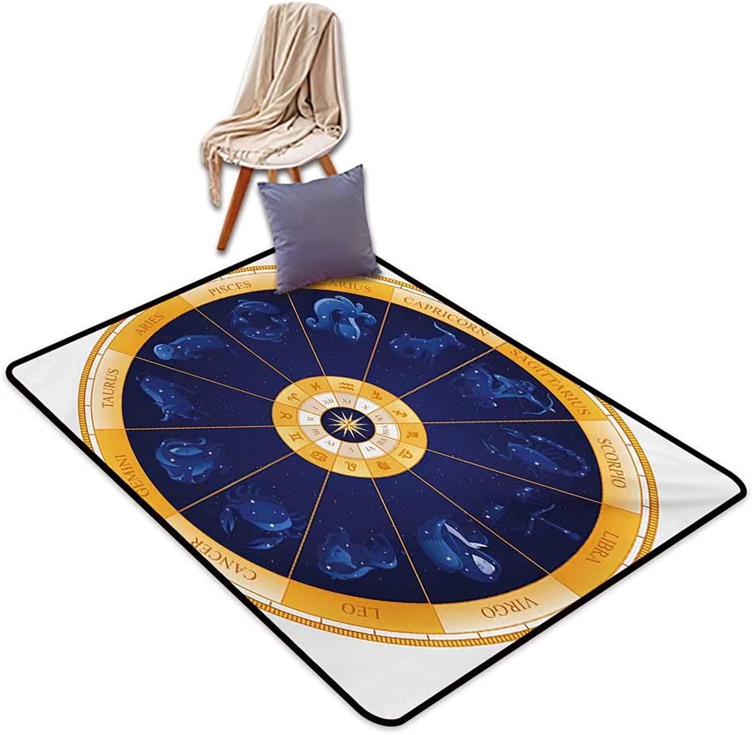 Astrology Indoor Super Absorbs Mud Doormat Natal Birth Chart Zodiac Hgoldscope Signs in Wheel Shape with Dots Stars Water Absorption, Anti-Skid and Oil Proof 55  Wx63 L bluee White orange