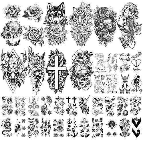 40 Hojas Gran Colección de Flores Sexy Tatuajes Temporales Impermeables que Duran un Tatuaje Falso para Mujeres y Niñas.