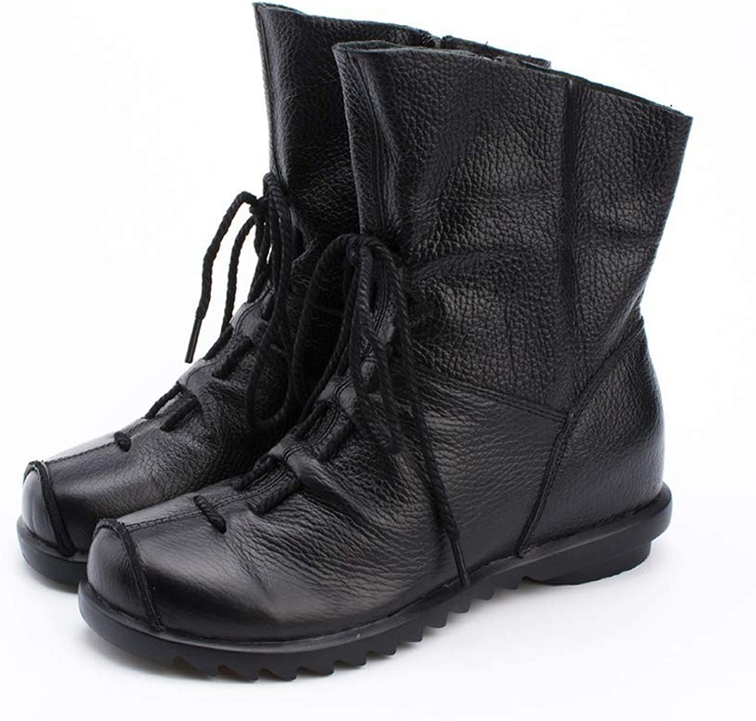 T-JULY Women's Plus Size Boots Winter Low Heel shoes Platform Casual Female Short Fashion Lace Up Snow Boots