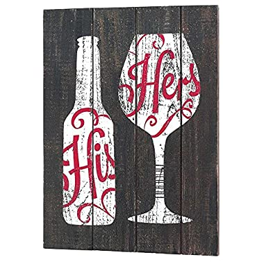 His and Hers Beer Bottle Wine Glass 16.5 x 12 Wood Print Overlay Wall Art Plaque