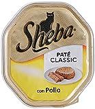 sheba paté classic cibo umido per gatti con pollo, 85g
