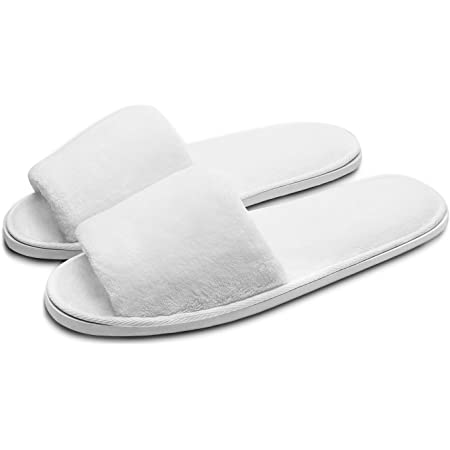Echoapple Three Size Fit Most Slippers - 5 Pairs of Deluxe Open Toe Slippers for Spa, Party Guest, Hotel and Travel, Washable and Non-Disposable, Easily Foldable and Portable