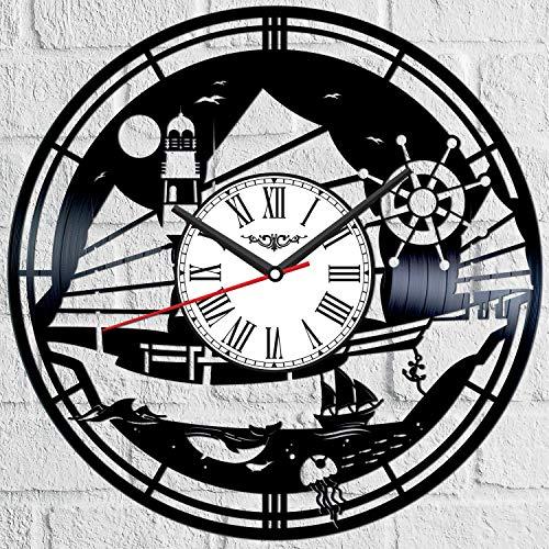 Barco barco vinilo récord reloj de pared estilo retro reloj de pared silencioso decoración del hogar único arte especial accesorios creativos personalidad regalo