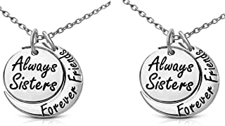 Set of 2 ``Always Sisters Forever Friends`` Moon Pendant Necklaces - Jewelry Gifts for Big & Little Sisters, Best Friends ...
