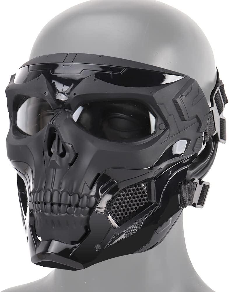Máscara de airsoft, máscara completa de esqueleto para Halloween, máscara táctica para juegos de fiesta, cosplay, caza, ciclismo, decoración para adultos y jóvenes