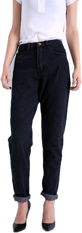 Attrastores 2019 High Waist Jeans New Womens Pants Full Length Pants Loose Cowboy Pants C1332,Black,26,Russian Federation