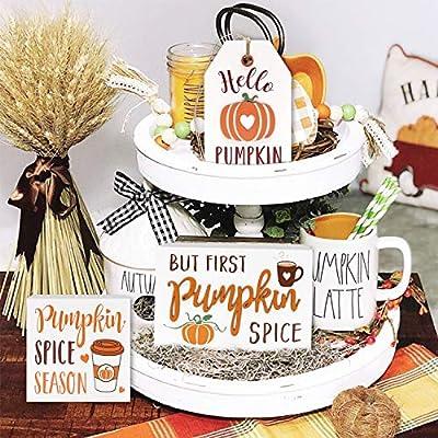 Huray Rayho Pumpkin Spice Tiered Tray Decorations Farmhouse Fall Decor Autumn 3D Signs Rae Dunn Seasonal But First Pumpkin Spice Rustic Mini Signs Kitchen Wood Ornaments Decor Set of 3