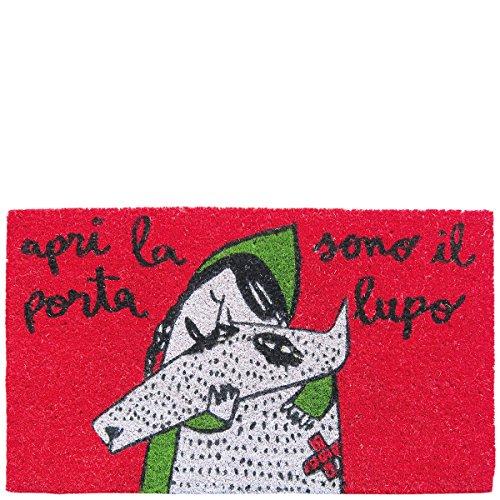 Laroom Felpudo diseño Apri La Porta Sono Il Lupo, Jute & Base Antideslizante, Rojo, 40x70x1.8 cm