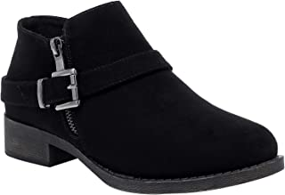 Women's Wide Width Ankle Boots - Suede Classic Chunky Heel Short Booties with Zip Closure.