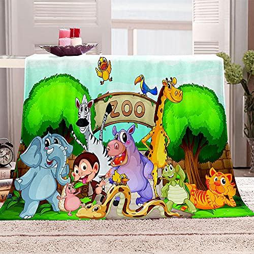 Zoo Manta de Tiro Impresa Animales de Dibujos Animados 3D Manta para niños Adultos Mantas de Lana con Franela Ligera Manta para sofá de Cama y Viaje 100x130cm