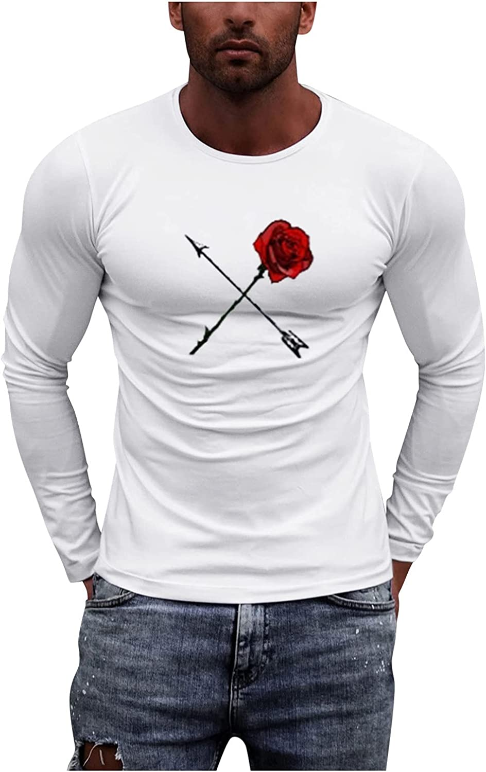 Men's T-Shirts Graphic Vintage Long Sleeve Tee Shirts for Men White Workwear Lightweight O Neck Printed Tops Blouse