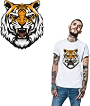 Tiger Iron On Appliques Gold Patches Tiger Decals for T-Shirt Heat Transfer Vinyl Sticker Waterproof&Washable Decal for DIY T-Shirt Jacket Hoodie Dresses Jeans