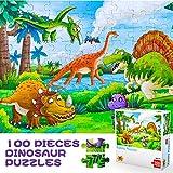 Puzzles Jouets 3-8 Ans Garçons Filles, Cadeaux d'anniversaire Tout-Petits Garçon 4 5 6 7 Enfant Mignon Dinosaure Jigsaw Puzzles 4-8 Ans Enfant Préscolaire Apprentissage Jouets Éducatifs 100 Pièces