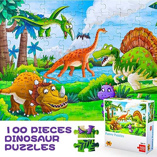 Puzzle Giocattoli per 3-8 Anni Ragazzi Bambini Ragazze, Regali di Compleanno Età 4 5 6 7 Capretto Simpatico Dinosauro Puzzle Bambini 4-8 Anni Prescolare Apprendimento Giocattoli Educativi 100 Pezzi