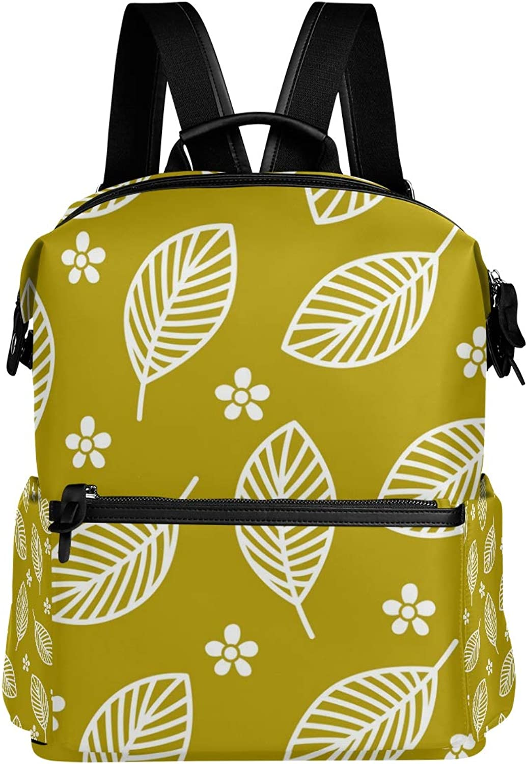MONTOJ Tiny Flowers Big Leaves gold Background Leather Travel Bag Campus Backpack