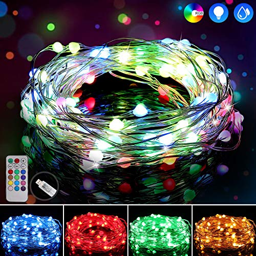 Stringa Luci LED GolWof 10M 100LED Catene Luminose Impermeabile Ghirlande Luminose con 12 Modi Luci Colorate Lucine LED per Interni Esterni DIY Feste