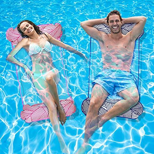 Tobeape 2Stk Luftmatratze Pool Aufblasbare Wasserhängematte, Aufblasbares Schwimmbett Pool Spielzeug, 4 In 1 Wasser Hängematte Pool Spielzeug, Luftmatratze Schwimmmatratze für Männer und Frauen