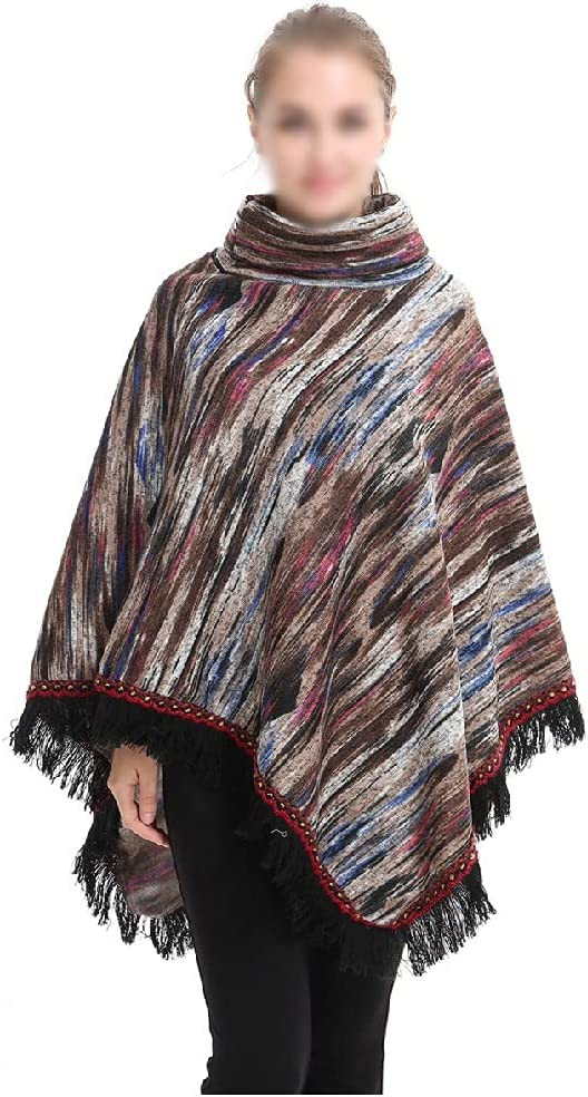 TJLSS Women New Orleans Mall Winter Ultra-Cheap Deals Shawl Knitted Poncho Crochet Fringed Tas Cape