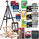 US Art Supply 133pc Deluxe Artist Painting Set with Aluminum and Wood Easels, Paint and Accessories