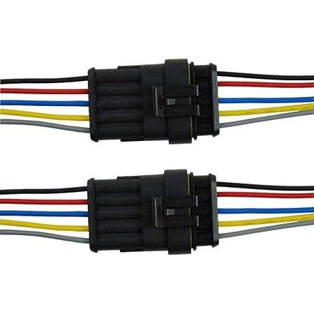 Qiorange 2pcs 5 Polig Kabel Steckverbinder Stecker Wasserdicht Schnellverbinder Kfz Lkw Auto 2pcs 5 Polig Auto