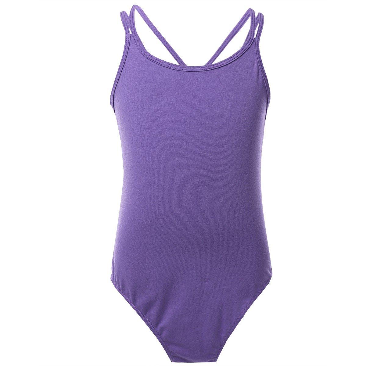 TiaoBug Kids Girls Spaghetti Strap Criss Cross Back Ballet Dance Dancewear Gymnastics Leotard Dress