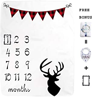 Large Plaid Banner Baby Monthly Milestone Blanket for Girl Boy, Large Personalized Photography Background Blankets, Thick Fleece for Mom Newborn Bib + Frame(Deer Themed)