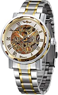 Men Luxury Stainless Steel Band Watches Casual Mechanical Skeleton Watch Fashion Hand-Wind Wristwatch