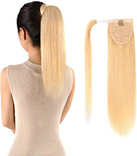 Ponytail Extensions Real Human Hair Clip in 14 inches 60g Light Blonde Color Straight Drawstring Warp Around Ponytail Hair Piece Remy Human Hair for Women (14