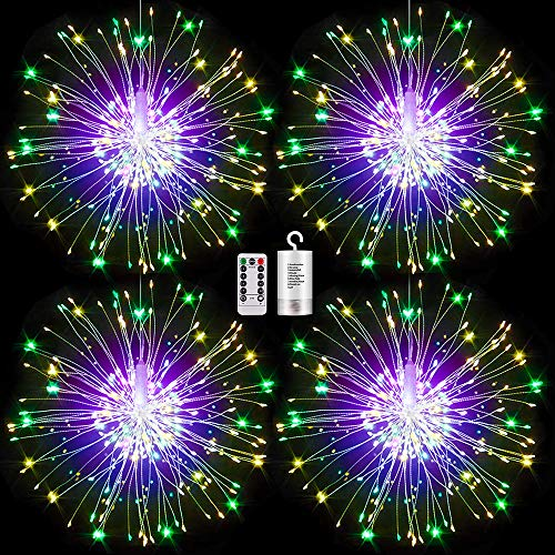FOOING 4 Pack Firework Lights Led Copper Wire Starburst String Lights 8 Modes Battery Operated Fairy Lights with Remote,Wedding Christmas Decorative Hanging Lights for Party Patio (Multi-Colored)