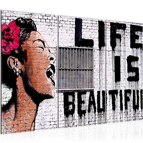 Runa Art Banksy Life is Beautiful Bild Wandbilder Wohnzimmer XXL Grau Street Art 120 x 80 cm 3 Teilig Wanddeko 301331a