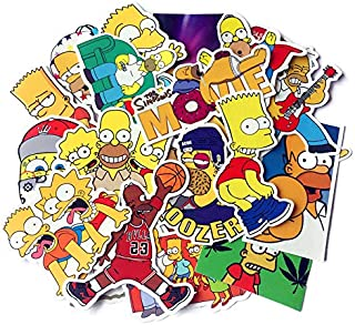 The Simpson Stickers Pack for Water Bottles Laptop Kids Teens Holiday Cars Motorcycle Bicycle Skateboard Luggage Bumper Waterproof Decal 25pcs Pack